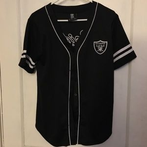 Oakland Raiders football button up jersey S M L